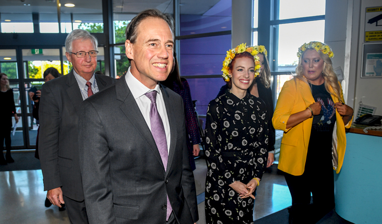 Federal Health Minister Greg Hunt at the official launch of the endometriosis action plan. (Image: Brendan Esposito)