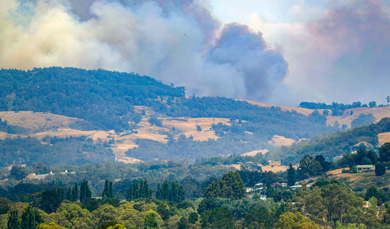 Wildfire south of Huonville in southern Tasmania. (Image: Rob Blakers)