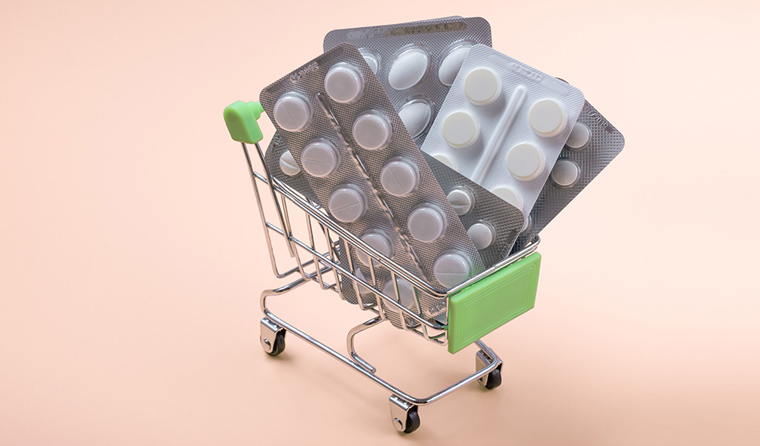 medication in a shopping trolley