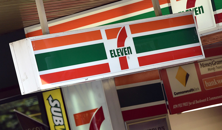 Customer being served at a 7-Eleven.