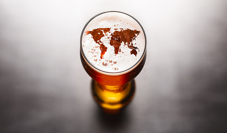 World map in a beer