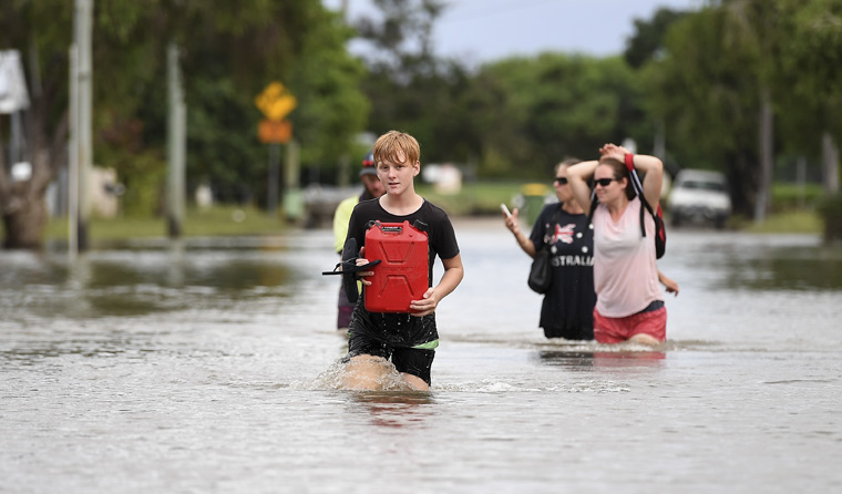 Children in flood waters