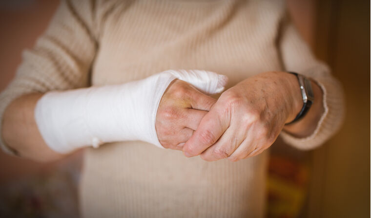 Close up of woman's arm in bandage