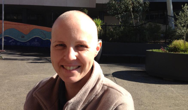 Dr Karen Woods during chemotherapy treatment.