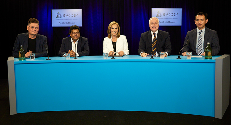 L–R: Dr Bruce Willett, Dr Jags Krishnan, forum chair Ali Moore, Dr Harry Nespolon, Chair of RACGP Council Dr Tim Koh.