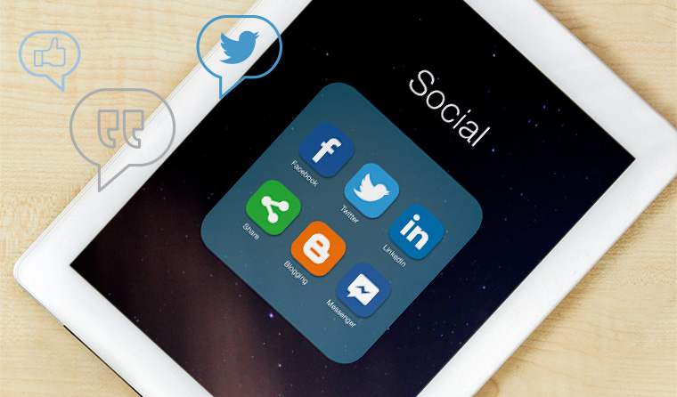Social media on tablet device