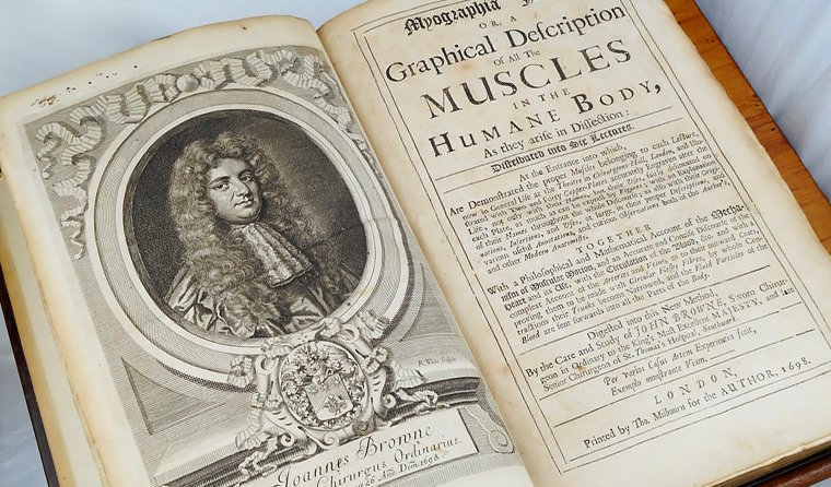 Brown's Muscles, published in 1698, previously belonged to Hobart's first female GP, Dr Christine Walch. (Image reproduced courtesy of COMA Tasmania)