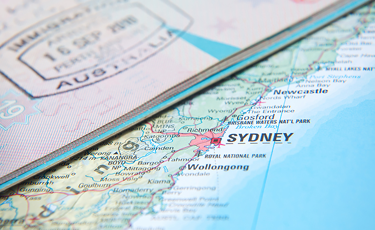 Australian visa and map