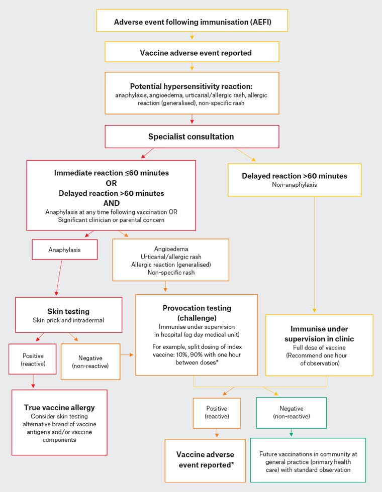 Figure 2. Suggested algorithm for suspected hypersensitivity reaction to vaccine