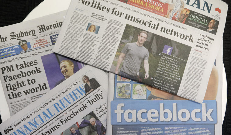 Newspaper headlines about the Facebook news ban