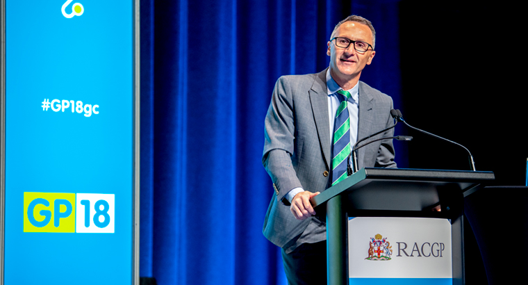 Greens leader Richard Di Natale at the GP18 conference.