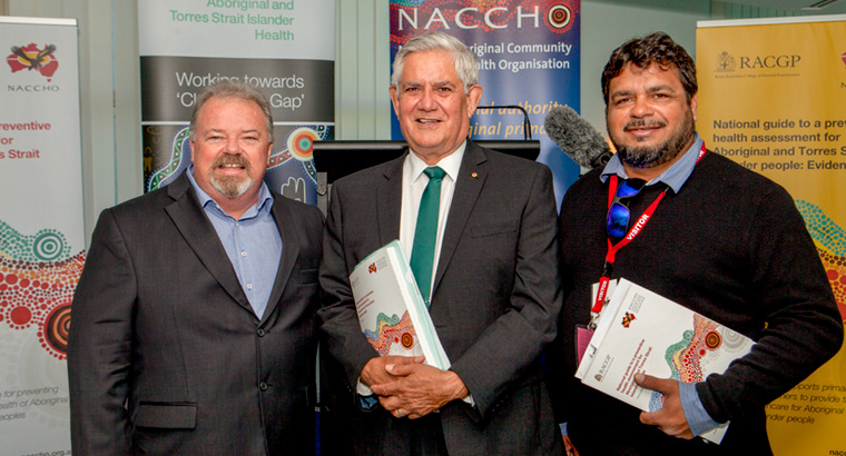 L–R: RACGP Aboriginal and Torres Strait Islander Health Chair Assoc Prof Peter O'Mara, Minister for Indigenous Health Ken Wyatt, NACCHO Chair John Singer. Image: Geoff Bagnall